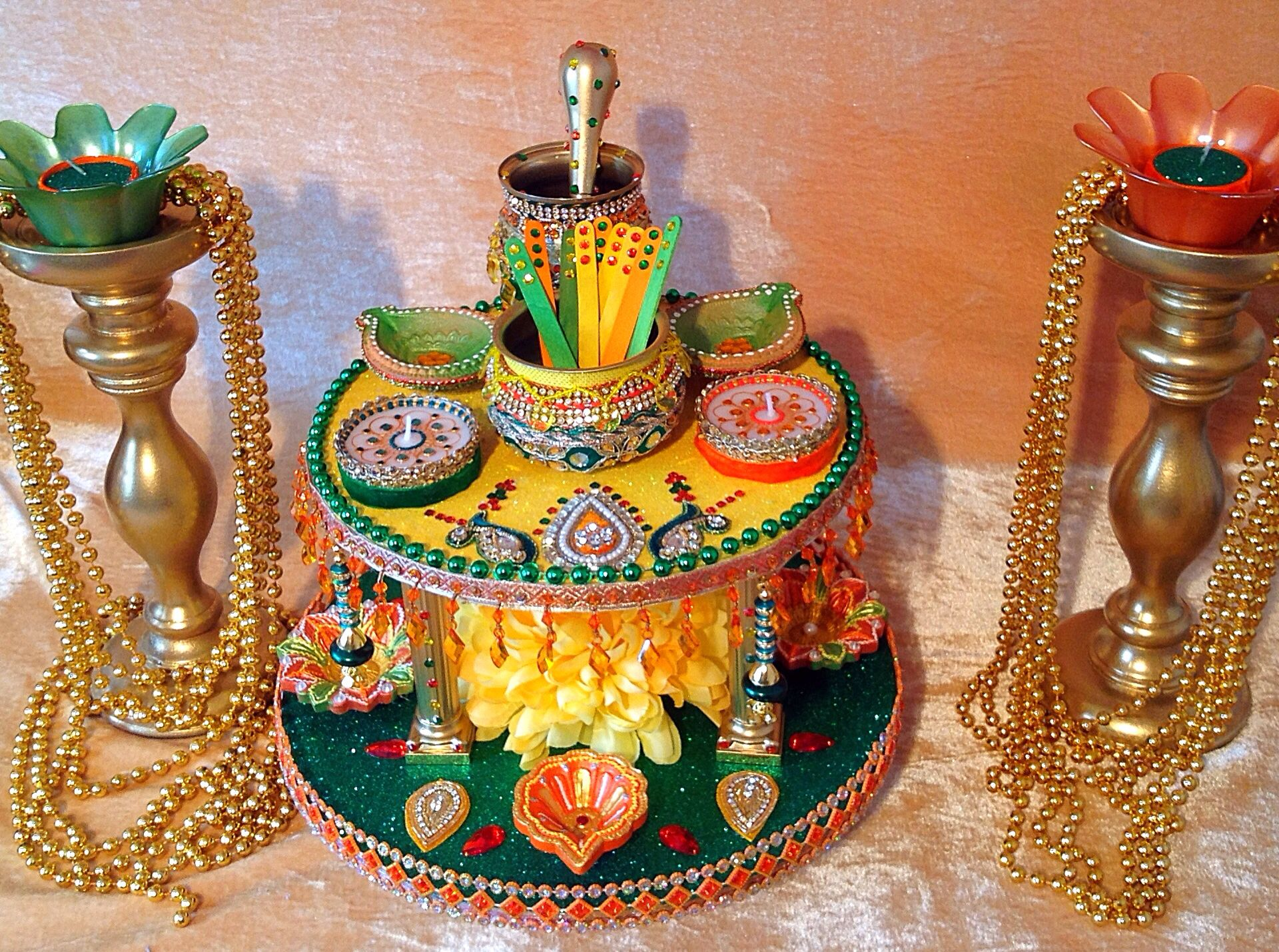Diy Mehndi Plates : A stunning double tiered mehndi plate see my facebook page