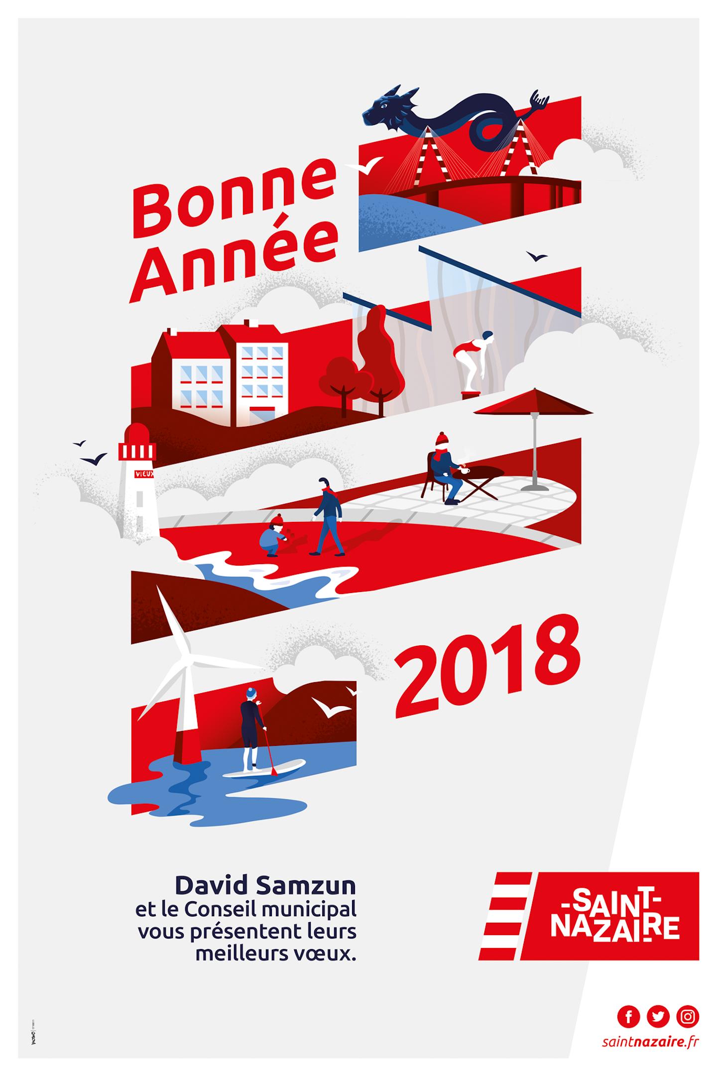 Moswo Voeux St Nazaire 2018 Carte De Voeux Entreprise Agence De Design Carte De Voeux