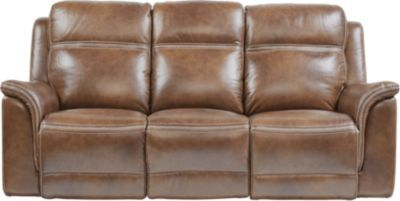 Awesome Barcaccia Brown Leather Power Reclining Sofa Living Room Gmtry Best Dining Table And Chair Ideas Images Gmtryco