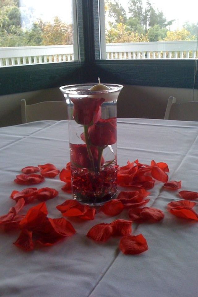 Rose center piece with floating candle