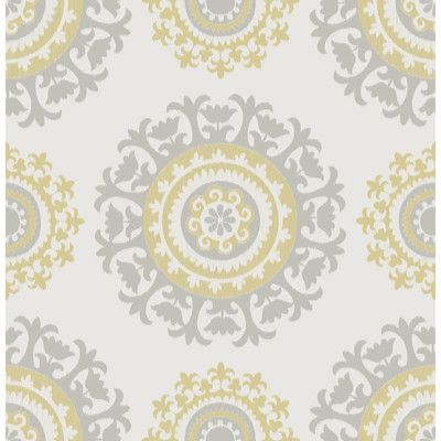 Grey And Yellow Suzani Peel And Stick Wallpaper Vinilos Para Cocina Vinilos Papel Pintado Geometrico