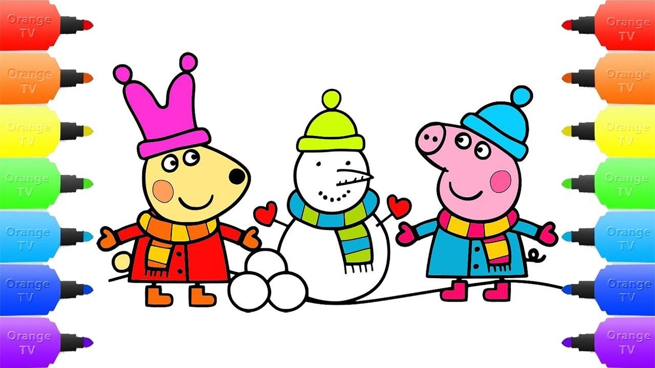 Peppa Pig Builds a Snowman Drawing, Coloring Book Peppa