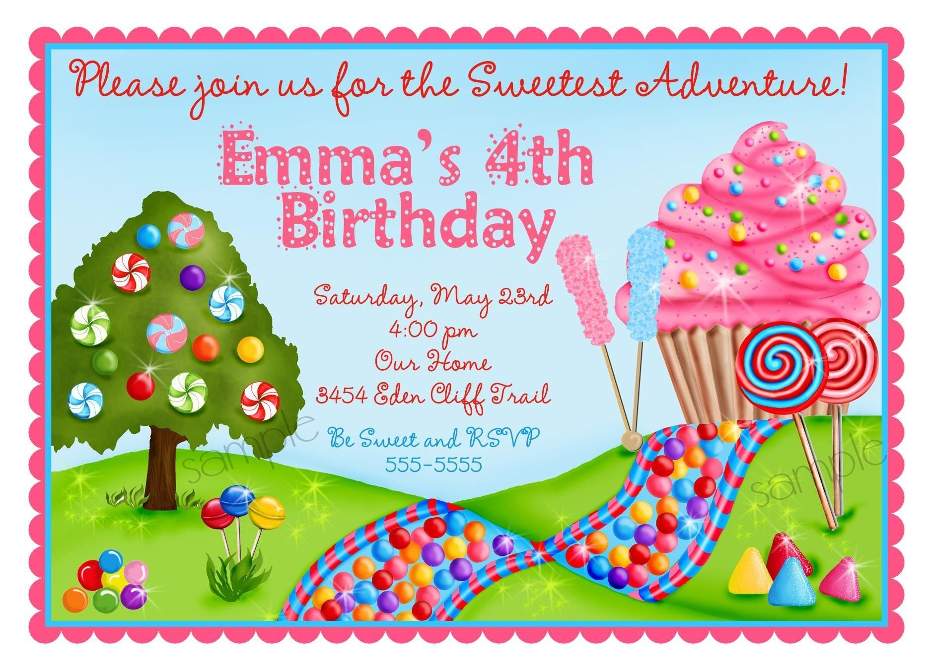 Personalized Invitations Oh Sweet Candy Land Candyland Candy Land