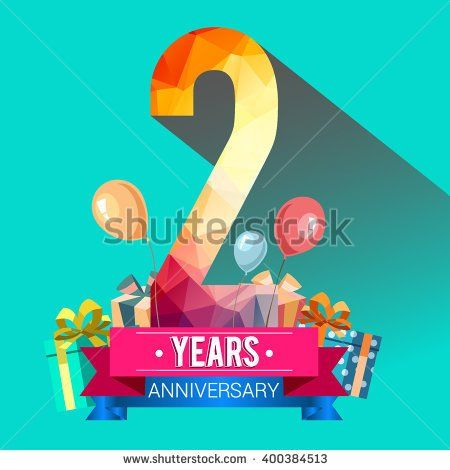 years anniversary celebration logo nd with  box and balloons colorful polygonal design stock vector also rh za pinterest