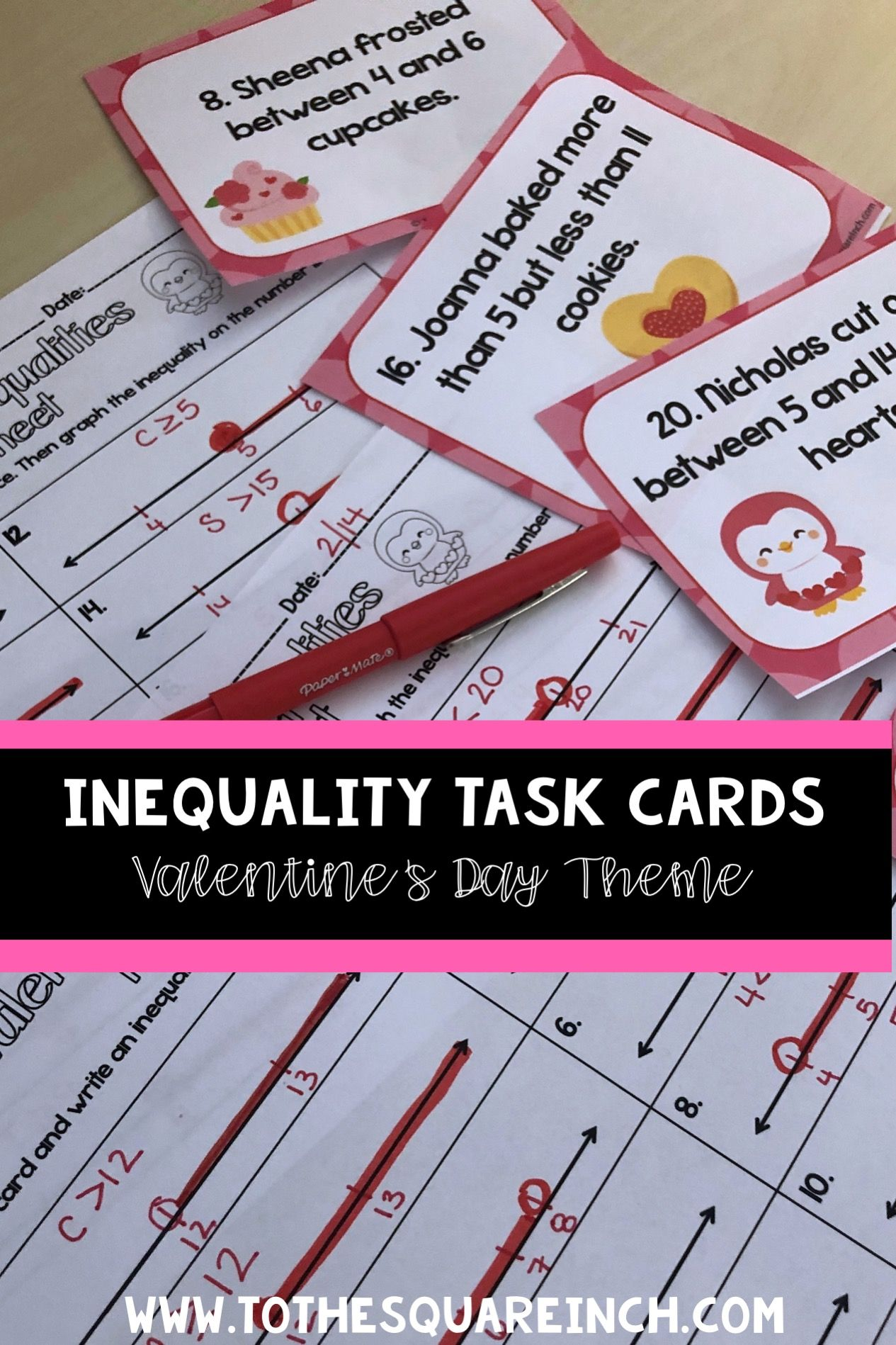 Valentines Day Inequalities Task Cards