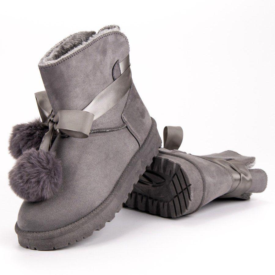 Szare Mukluki Z Pomponami Boots Ugg Boots Uggs