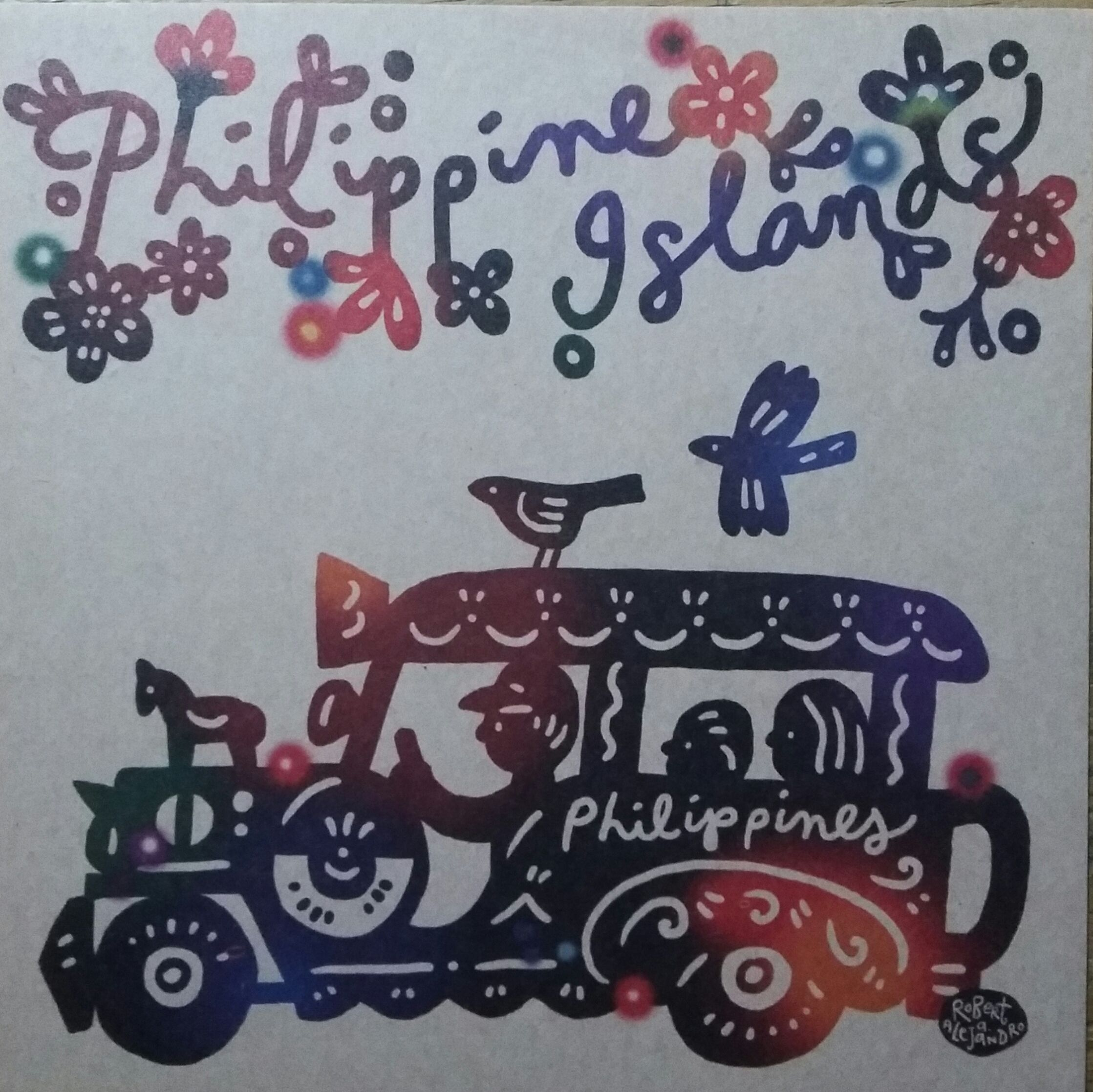 "Philippine Jeepney. 5 1/2"" x 5 1/2"" illustrated postcard"