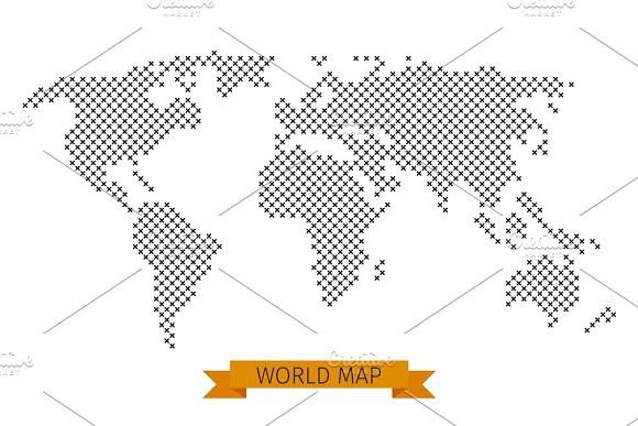 Vector world map cross dot illustrations illustrations vector world map cross dot graphics vector world map cross dot global map for cartography template map with black cross illustration by microvector gumiabroncs Gallery