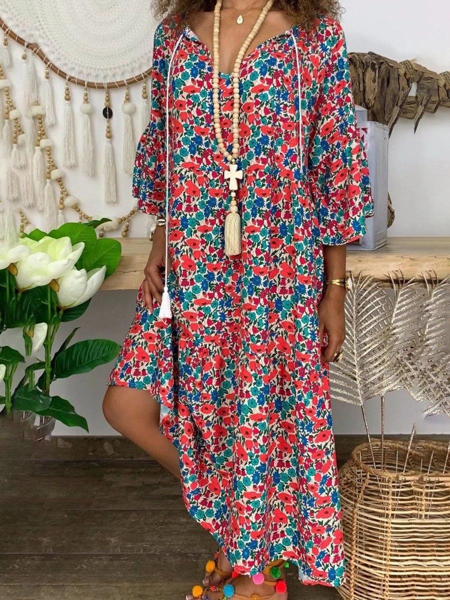 Multicolor Floral Print Asymmetric Hem 3 4 Sleeve Dress In 2020 Bohemian Fashion Summer Shift Dress Casual Color Block Tunics [ 1200 x 900 Pixel ]