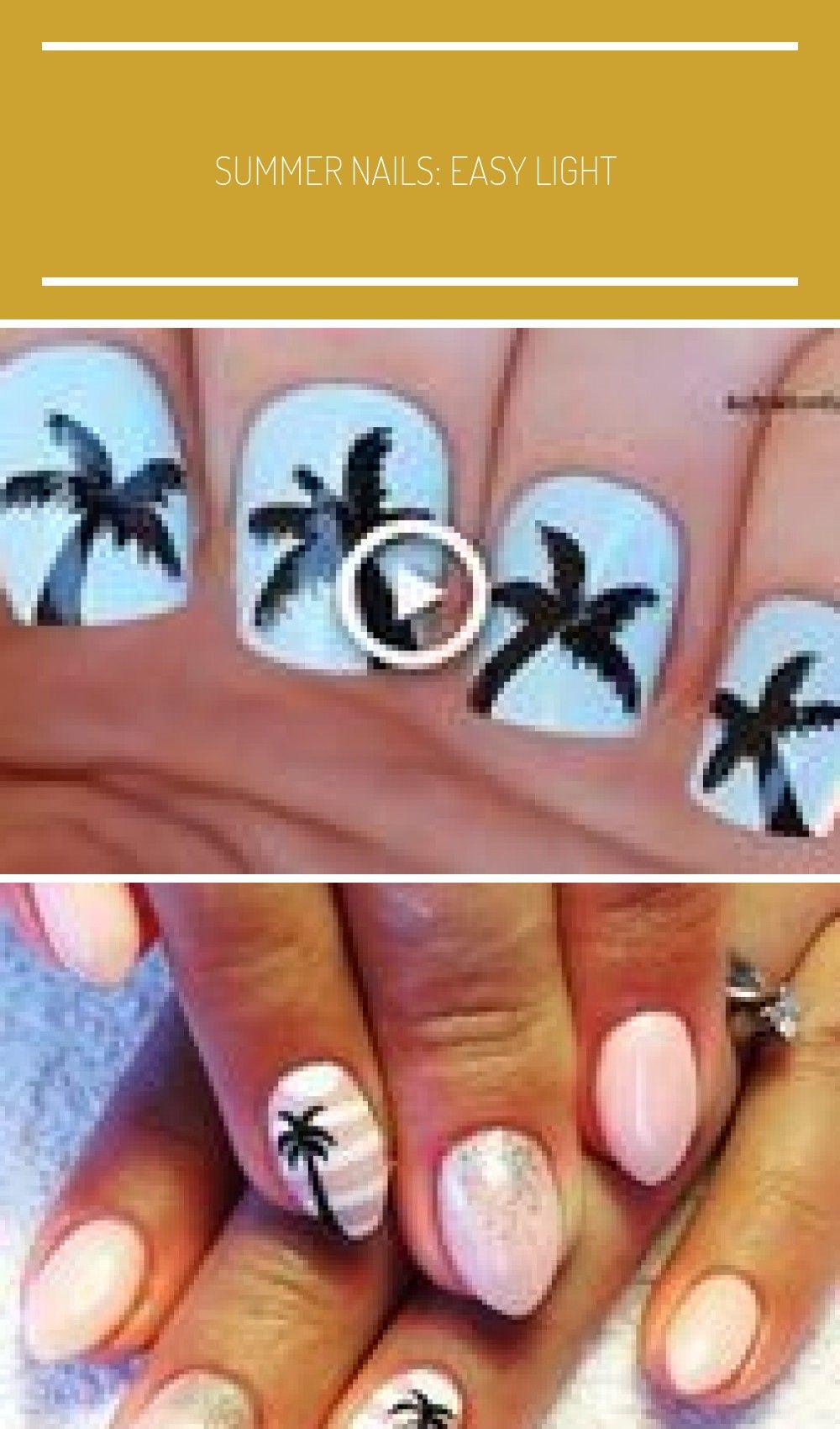 SUMMER NAILS: Easy Light Blue PALM TREE NAGELKUNST # Nails #NailArt #NailPolish #Gel …