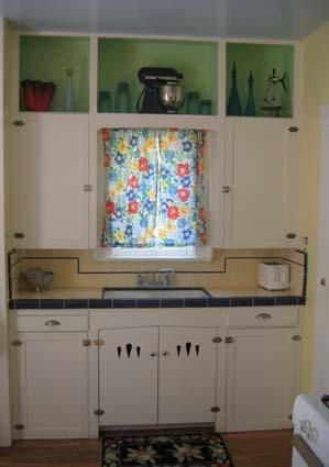 Tiny Kitchen With Pretty Yellow And Black Counter Top 1930 S To