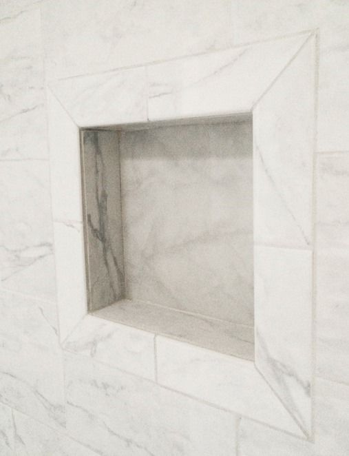 Daltile Marissa Carrara Tile From Home Depot Nice Use Of Bullnose For Niche Grandma S Walk In Shower Centsational