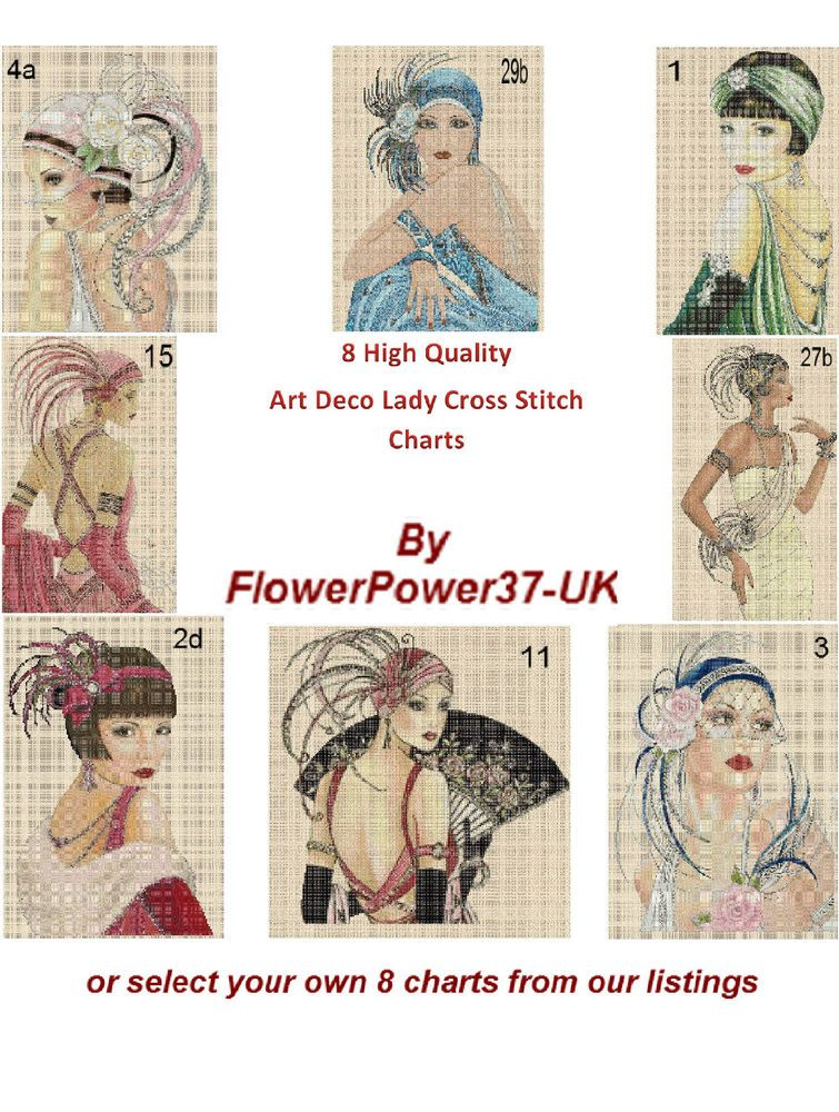 Cross Stitch Chart  Art Deco Lady   Charts Or Pick Your Own