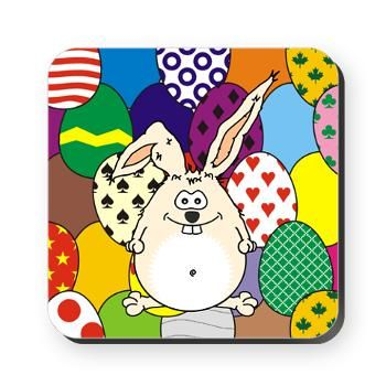Easter Bunny and Easter Eggs Square Coaster