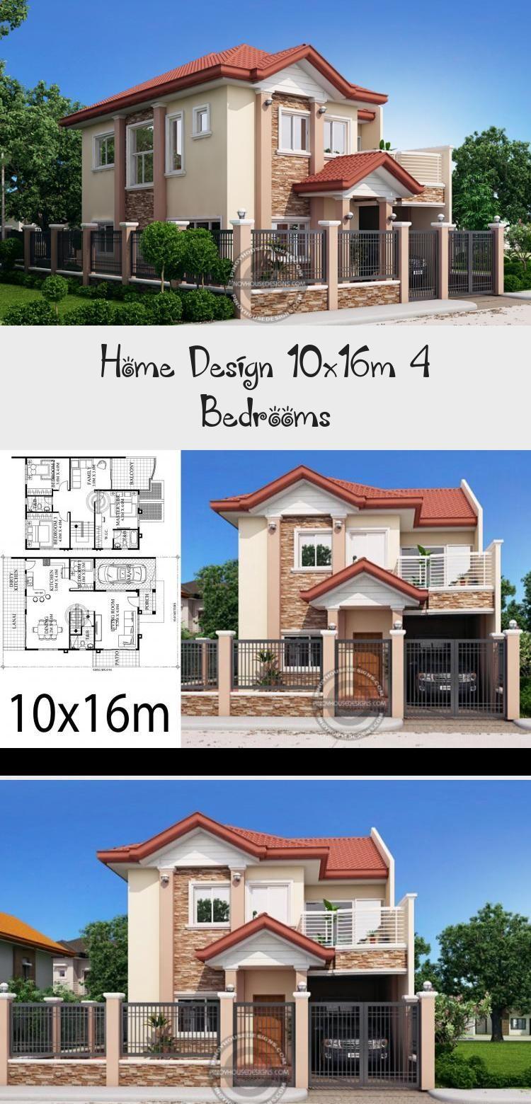 Home Design 10x16m 4 Bedrooms In 2020 Unique House Plans House Design House Plans Mansion