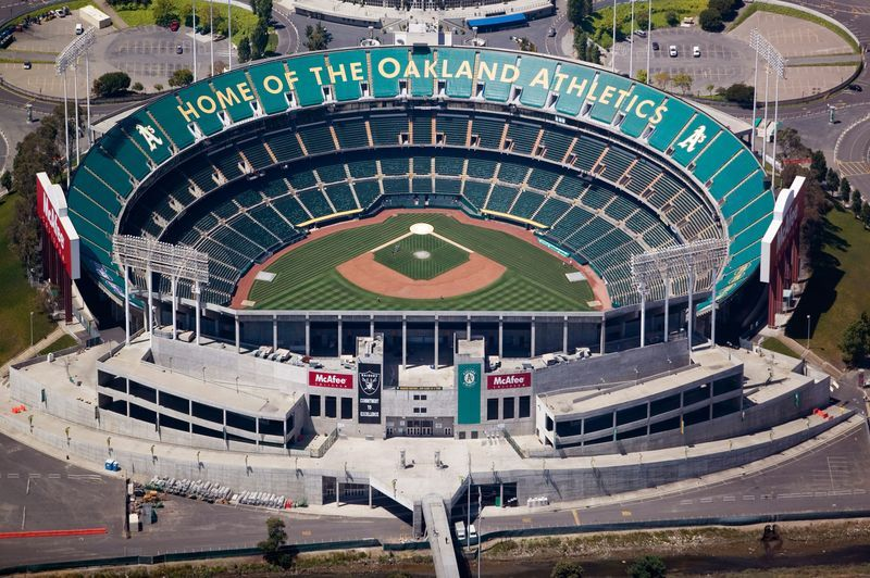 Oakland Coliseum Home Of The Oakland Athletics Go A S Oakland Coliseum Mlb Stadiums Major League Baseball Stadiums