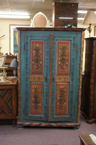 Antique Painted Austrian Wedding Cupboard Cabinet Wardrobe Armoire Blue I  Am In Love!