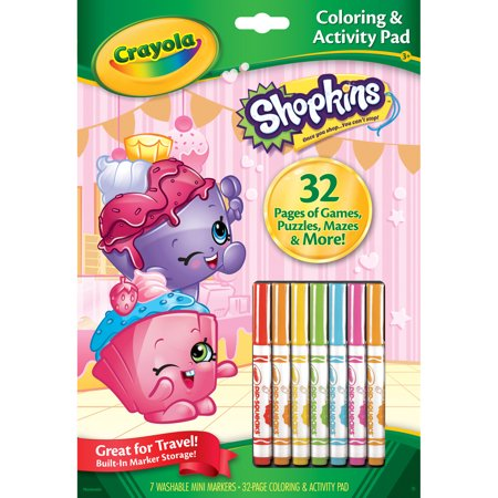 Crayola Shopkins Coloring And Activity Pad With Markers Walmart Com Crayola Coloring Stickers Crayola Kids