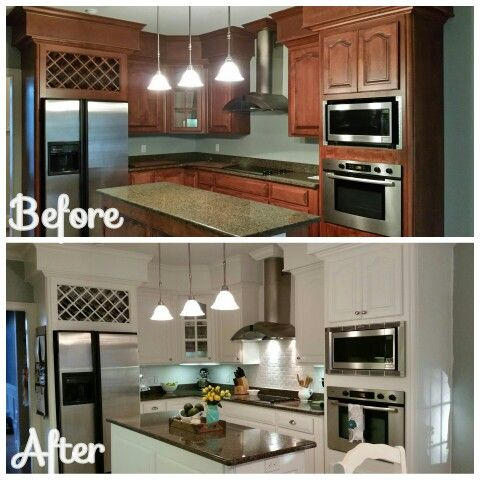 Before After Kitchen Makeover Sherwin Williams Alabaster Semi