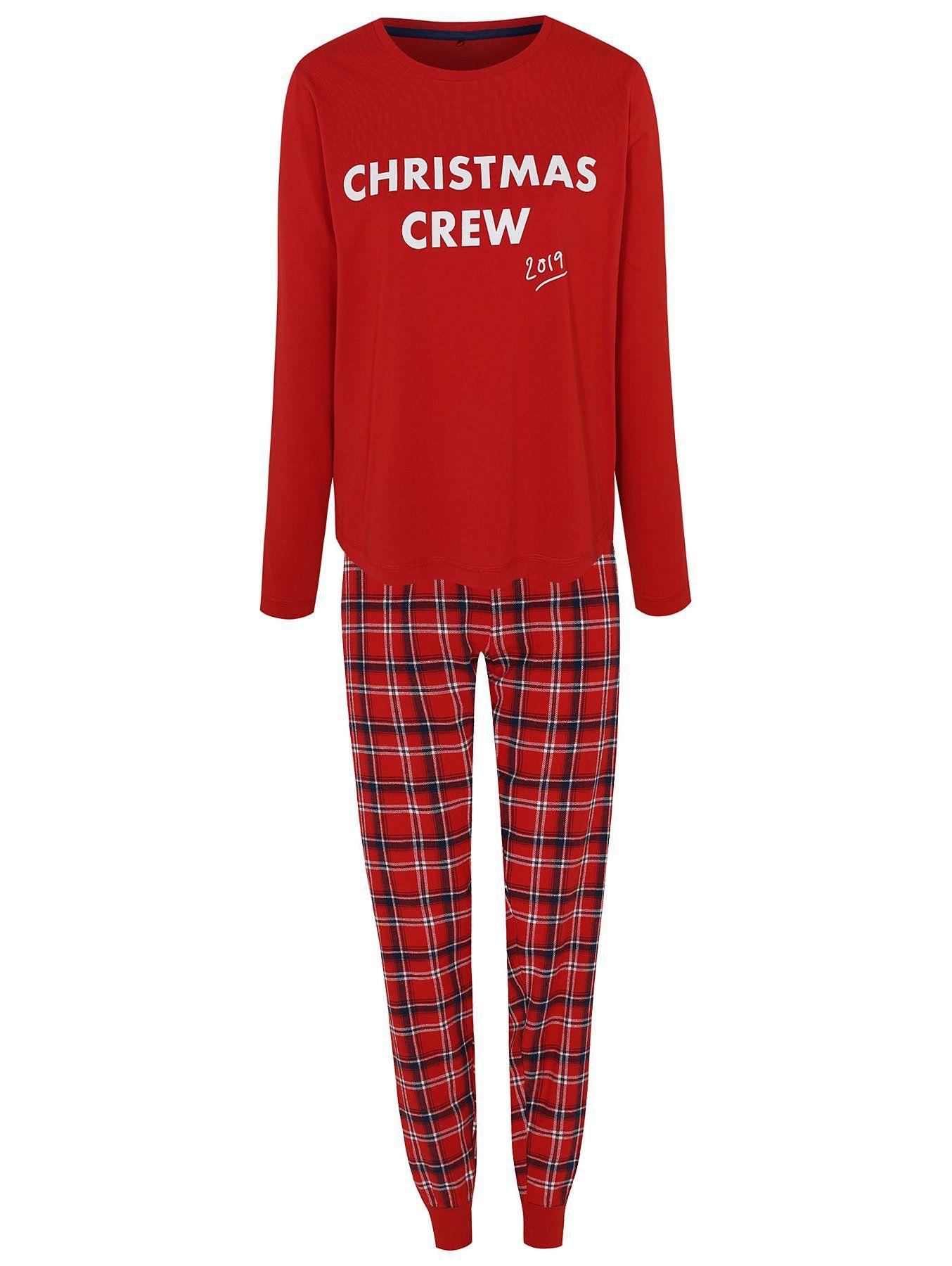 Red Family Christmas Crew Slogan Pyjamas Women