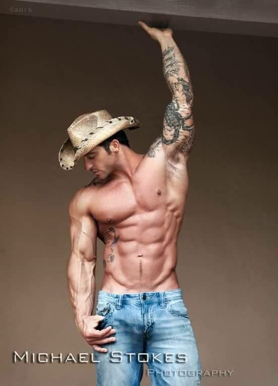 Muscled Cowboy Showing His Ass