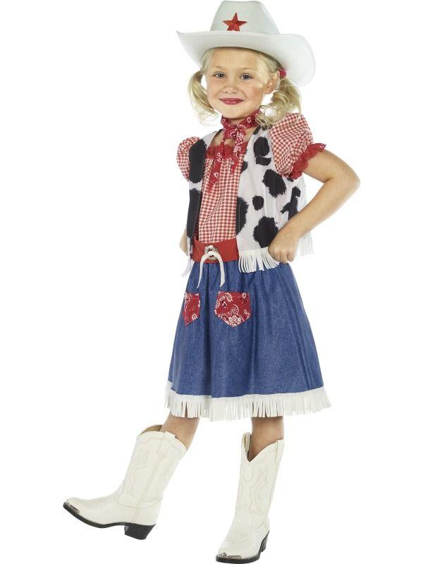 cowgirl sweetie girls fancy dress western cow girl costume hat age 39 years