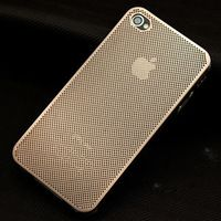 Golden Deluxe Luxury Metal Net Hole Back Case Cover Skin For Apple iPhone 4 4S, Free Shipping