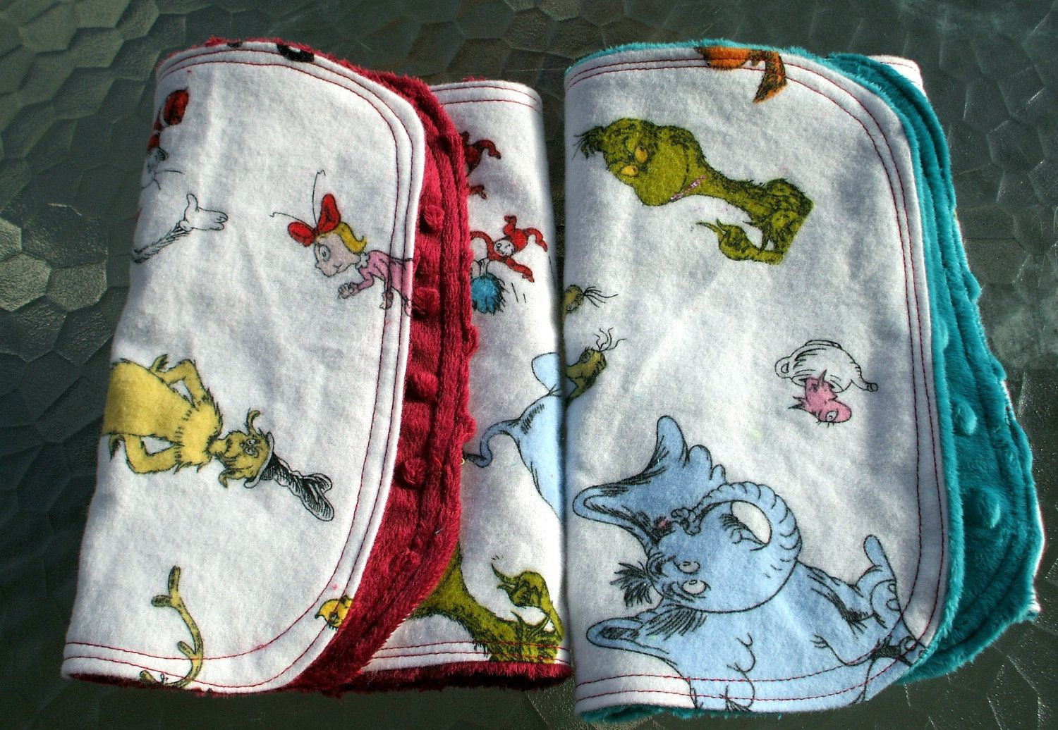 Burp towels dr seuss flannel and dimple minky set of 2