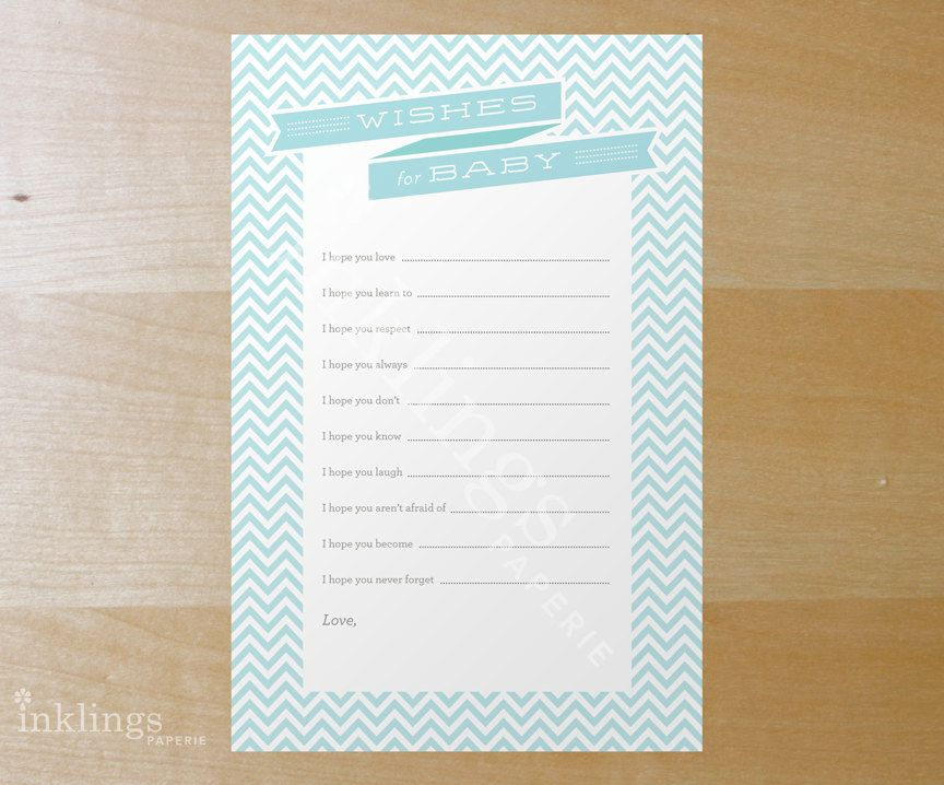 "Printable ""Wishes for Baby"" Sheet / Choose your color. $8.00, via Etsy."