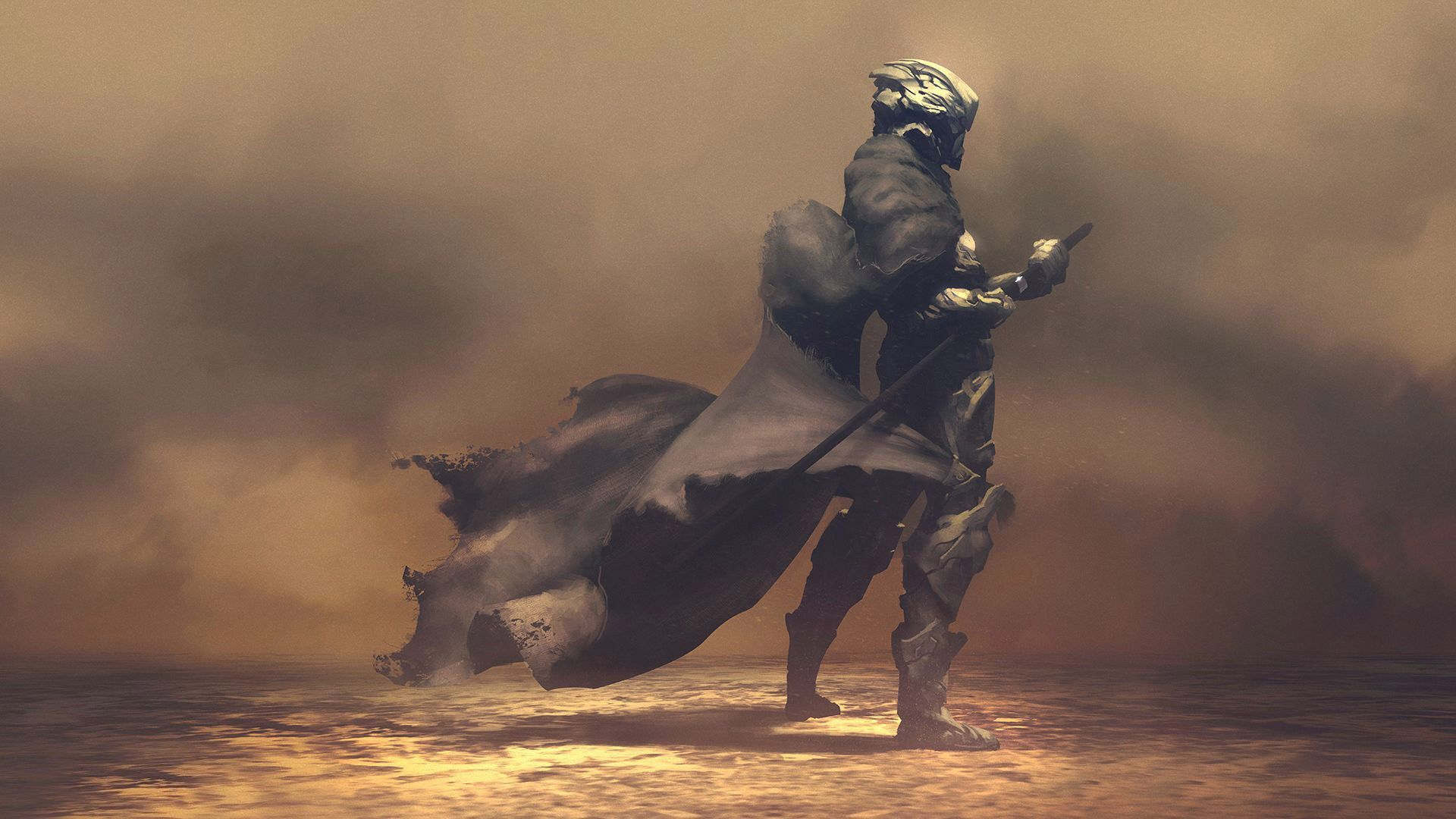 Futuristic Samurai in Smoke Wallpaper • Samurai