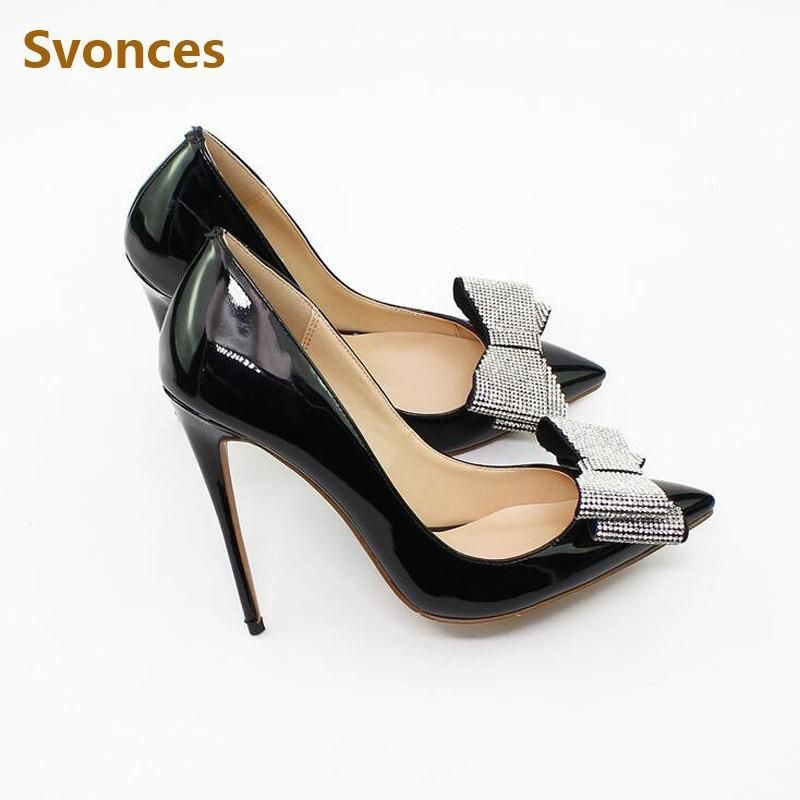 5374a974e5c8 Woman Pumps Patent Leather Bling Crystal Butterfly-knot 12cm Thin High Heels  Sandals Women Pointed Toe Party Shoes Zapatos Mujer #aveshop #boot #women  ...