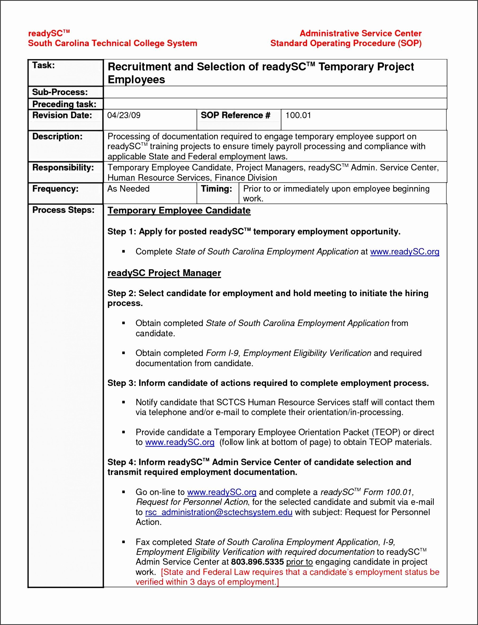 Work Instructions Template Word Elegant 10 Instructions For Project Plan Sampletem Standard Operating Procedure Template Standard Operating Procedure Word Free