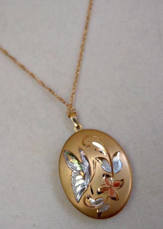 Gold Fill Butterfly Locket, Vintage Gold Butterfly Design Locket | Butterfly  locket, Locket vintage, Gold butterfly