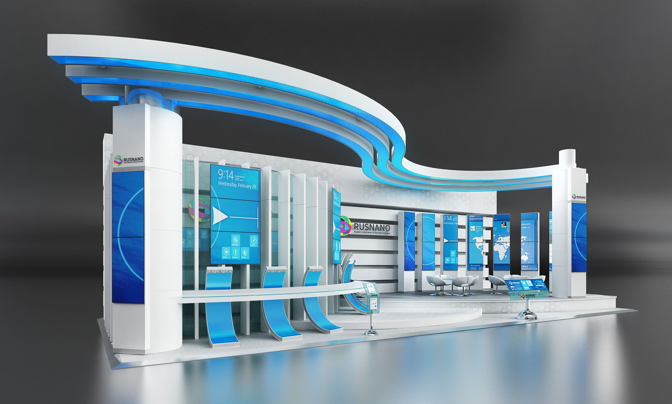 Exhibition Stand Design Concepts : One of the design concept for rusnano exhibition stand
