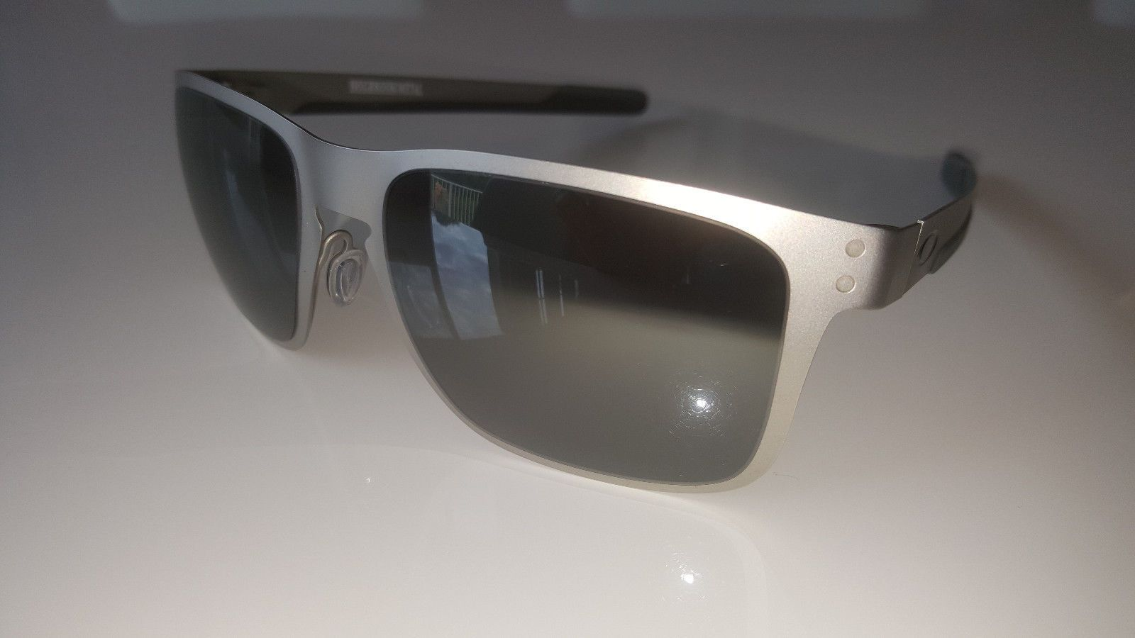 2afa9dd595c OAKLEY HOLBROOK METAL Sunglasses OO4123-03 55 Satin Chrome Black Lens NEW  IN BOX