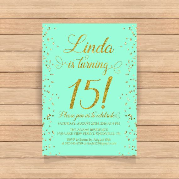 15th birthday invitation Fifteenth birthday Gold by CoolStudio