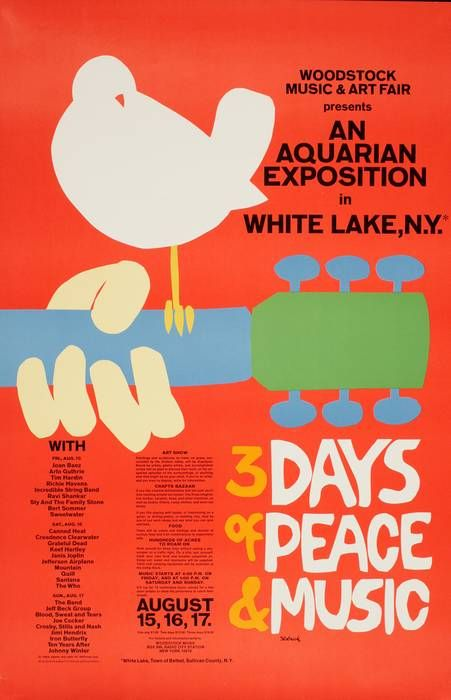 There are few images, if any that are more symbolic of the music and spirit of the 1960's in America than this image created hastily by Arnold Skolnick to promote the Woodstock Music Festival in August, 1969. The 3 Days of Peace & Music was moved to the Yazgur Farms at a late point and that necessitated this new design by Skolnick. It is said that the attendance was upwards of 500,000 despite the obstacles in reaching Woodstock and the weather conditions which were unfavorable throughout…