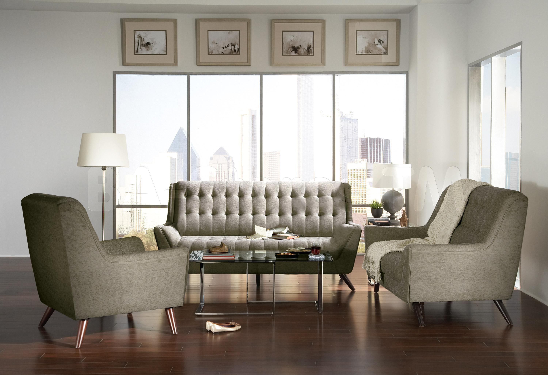 Natalia retro dove grey chenille pc sofa set mid century home