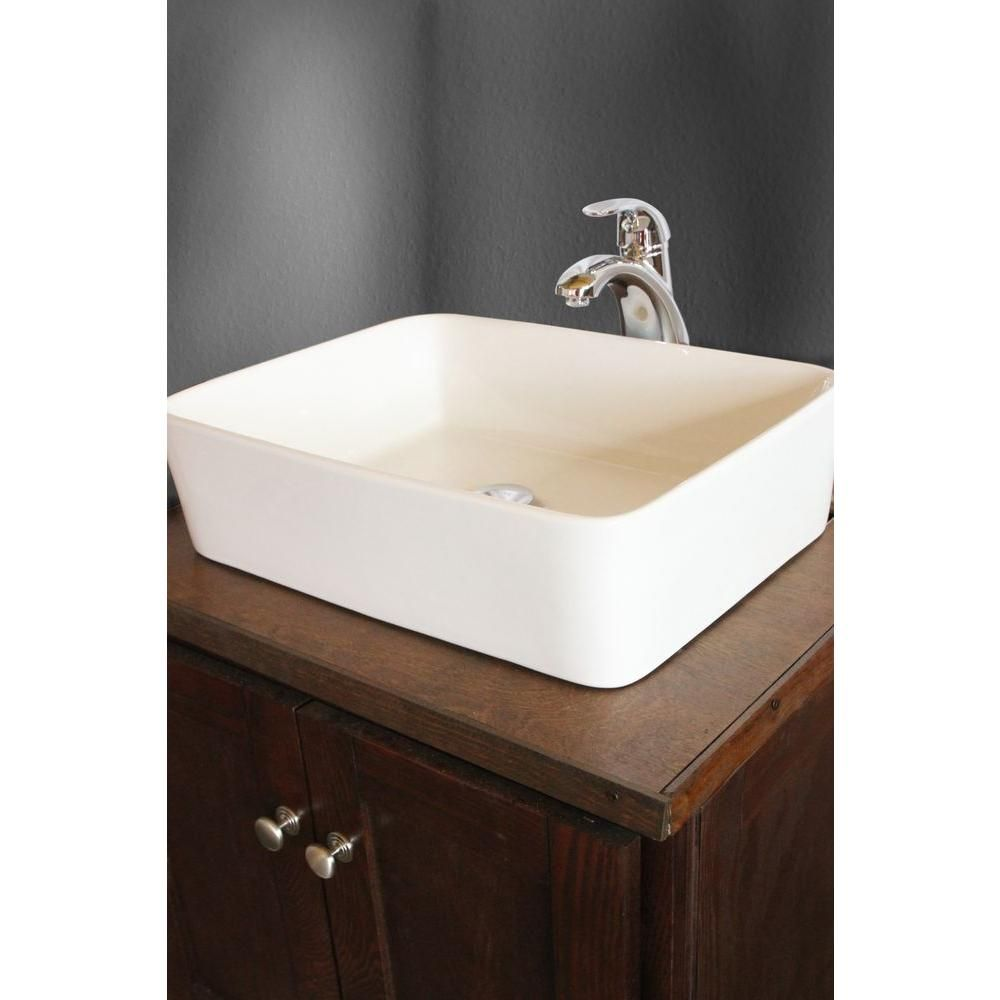 Null Sauberzen Vitreous China Vessel Sink In Polished White