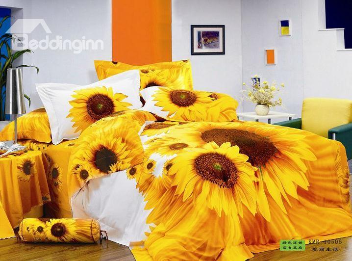 Sunflower Printed Duvet Cover Sets 4pcs Cotton Bedding Set