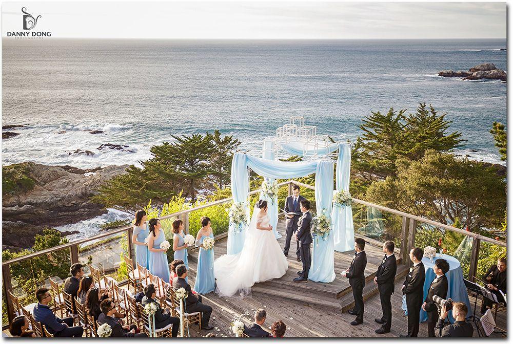 Powder Blue And White Oceanside Wedding At Hyatt Carmel Highlands Inn Event Planning Styling Design Manna Sun Events Highland Wedding Event Venues Photo