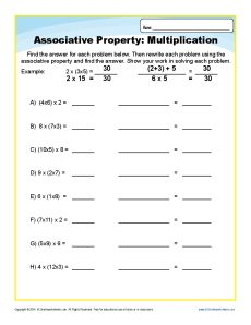 associative property worksheet problems 3rd grade math associative property math properties. Black Bedroom Furniture Sets. Home Design Ideas