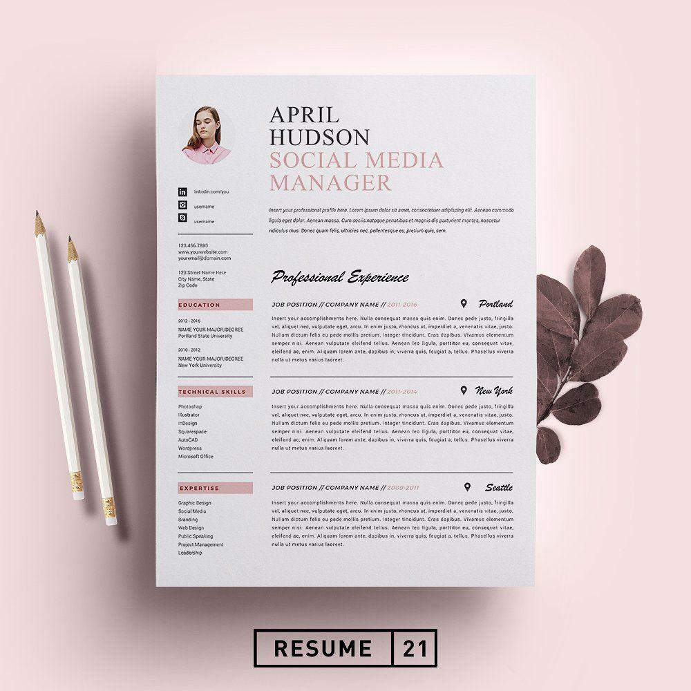 Social Media Resume Template Cv Resume Template Social Media Manager Resume
