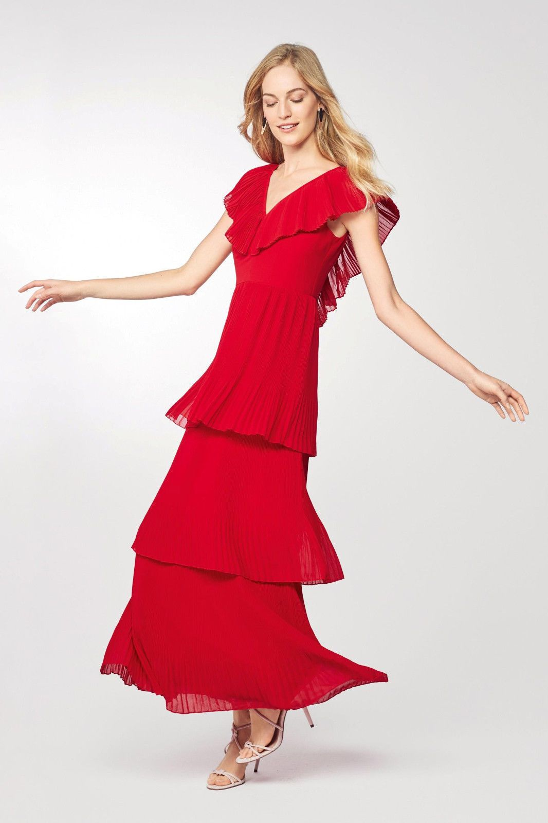 8eb2497bc62 BNWT NEXT STUNNING RED MAXI TIERED DRESS 20 TALL £80 SUMMER HOLIDAY WEDDING