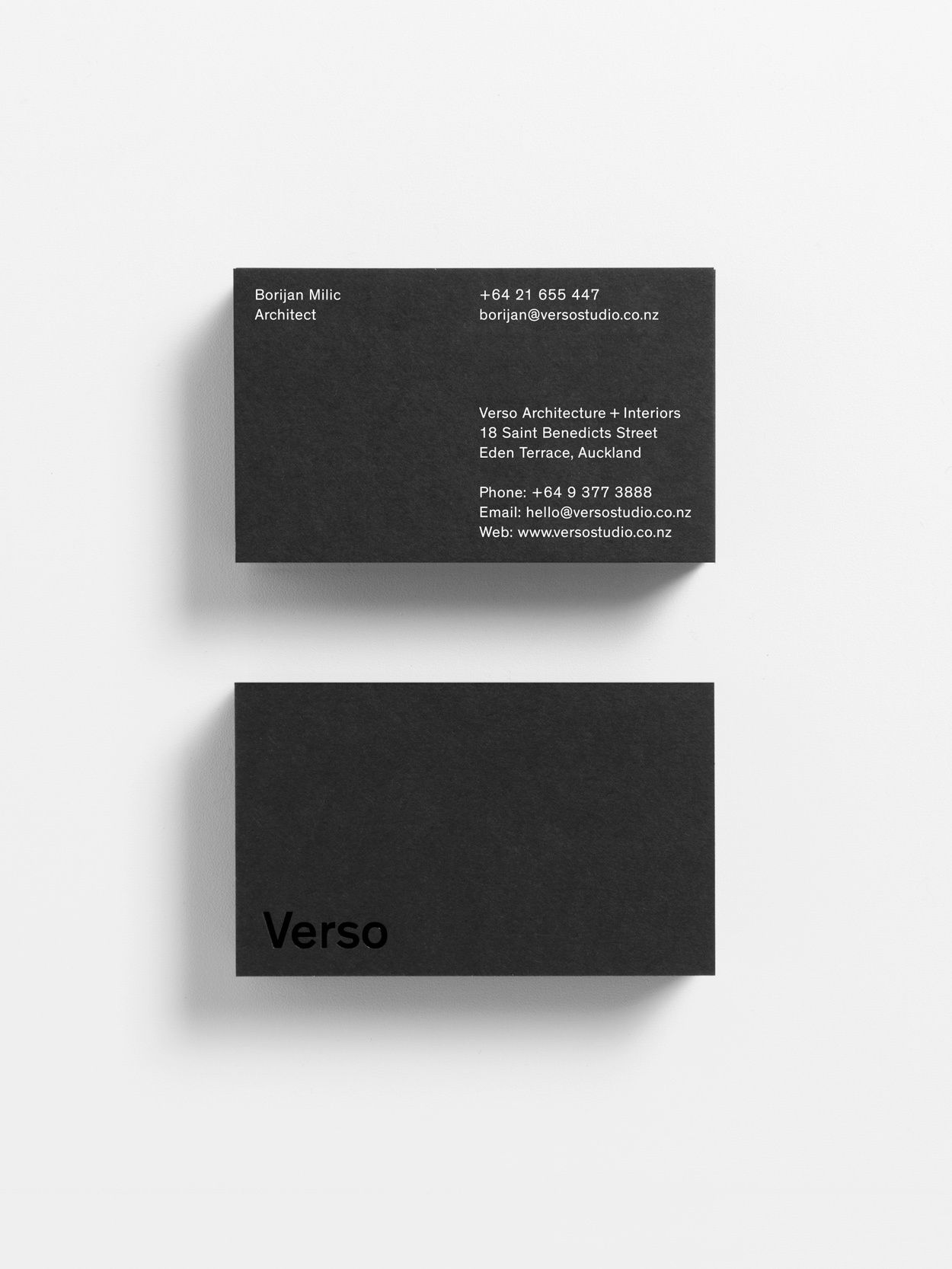 New brand identity for verso by studio south bpo design de branding and business cards with black board and white foil detail by studio south for auckland reheart Image collections