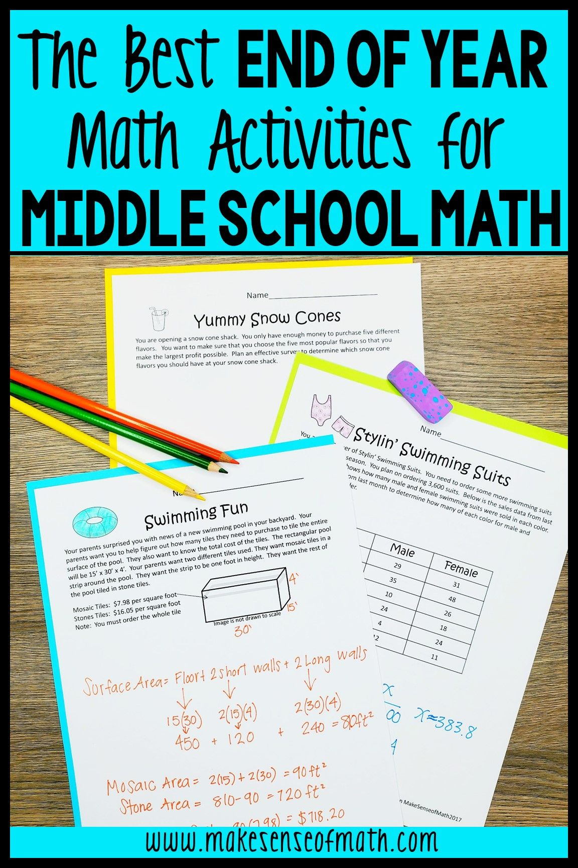 End Of Year Math Activities In