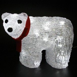 illuminated polar bear christmas light with red bow 15cm tall from lights4fun