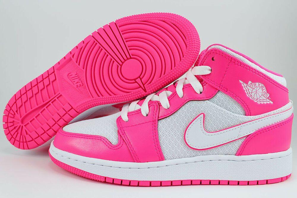 Details About Nike Air Jordan 1 Mid Hyper Pink White Hot Retro Hi