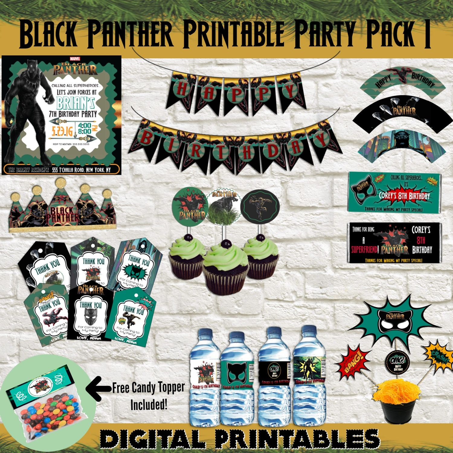 Black panther birthday party printable pack 1 black panther