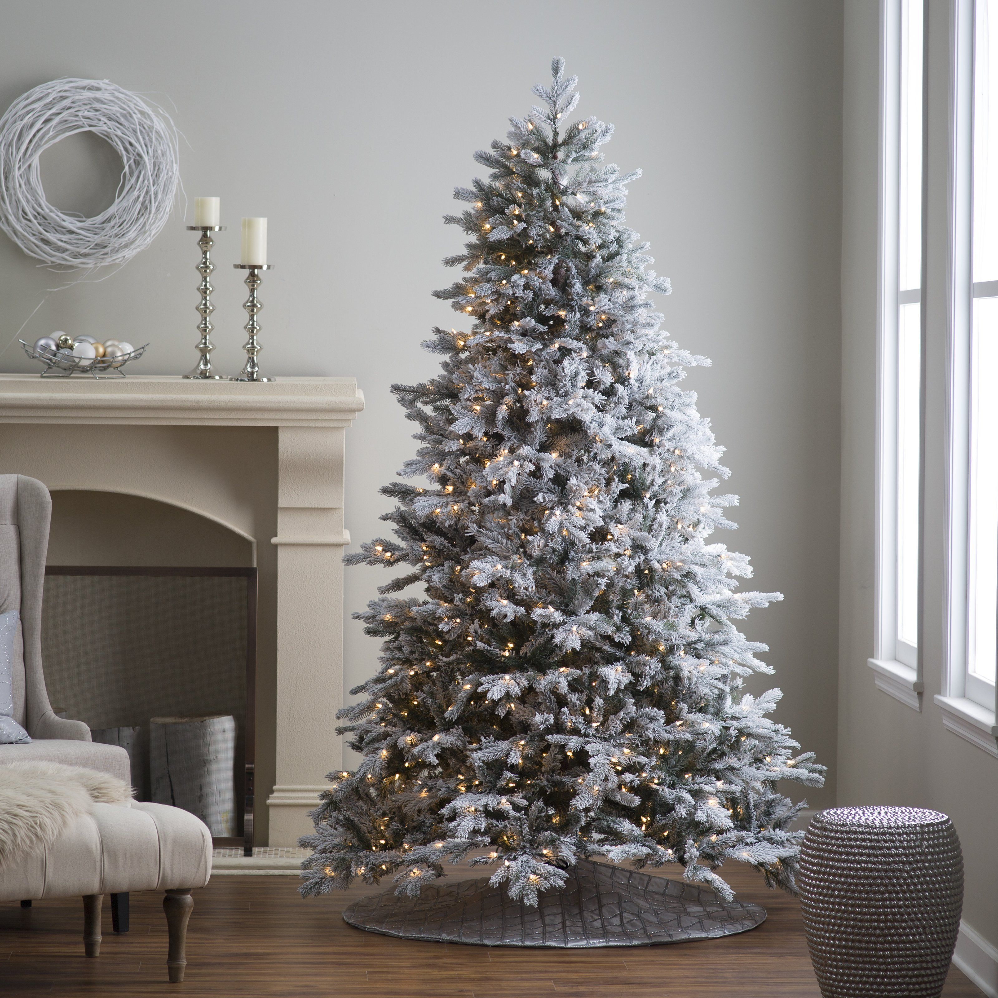 pre lit natural cut flocked vermont spruce christmas tree by sterling tree company christmas trees at hayneedle - Pre Decorated Artificial Christmas Trees
